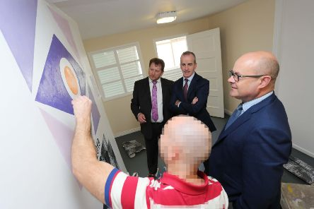 Prisoners at Magilligan have taken part in the first ever Skillbuild competition in a UK prison. Looking on at the painting and decorating competition final are Barry Neilson, CITB NI, Patrick McKeown, North West Regional College and Andy Tosh, governor of Magilligan Prison.