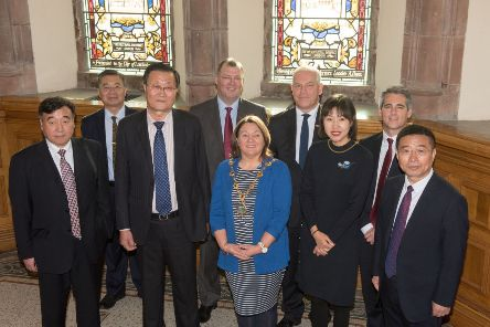 Mayor of Derry City and Strabane District, Councillor Michaela Boyle, pictured with the Dalian delegation who visited the city this week. Included in the picture are Council Chief Executive John Kelpie, Zhao Min, Vice President of the Chinese People's Political Consultative Conference (CPPCC) Dalian Committee, Stephen Gillespie, Director of Business and Culture DCSDC, Kevin O'Connor, Head of Business, DCSDC. Pic by Martin McKeown