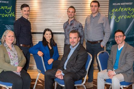 Seven companies from the North West will travel to the US next month as part of a high-level trade and investment delegation.  Front: Sian McCann, Wild Fuschia Bakehouse; Eibhlin McGuinness, MMG Welding; Rob Rae, Littus Consulting; Ian Friel, Visual Edge. Back:: Gerard Floyd, Humanity Cosmetics; Christopher Reid, Humanity Cosmetics; Francis Burns, Eko Chute.