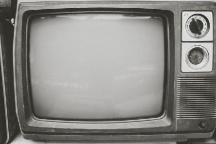 A black and white TV