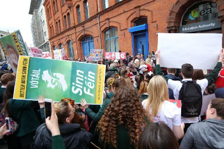"""Sinn Fein members join a protest for an Irish language act in Belfast. """"The demand should not, under any circumstances, be accommodated"""""""