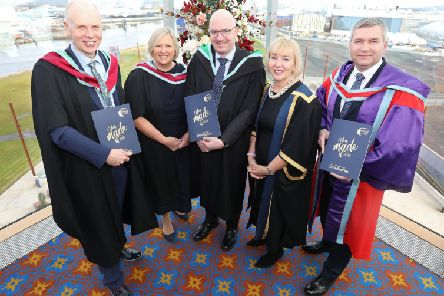 Belfast Met chair of governing body Frank Bryan, Gillian Magee, director of people, policy and planning director, founder and CEO of FinTrU Darragh McCarthy, Belfast Met principal and CEO Marie-Th�r�se McGivern and director of curriculum and learner success, Dr Jonathan Heggarty MBE