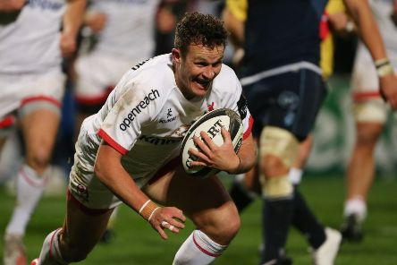 Ulster's Billy Burns runs in a try against Cardiff Blues. Picture by Brian Little
