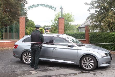 A police car outside Shandon Park Golf Club in east Belfast after the attempted murder of a PSNI officer