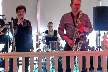 Noreen Parker (vocals) and Dave Howell (sax) playing with 'Moodswing' at SD Bells Sunday jazz brunch in Belfast