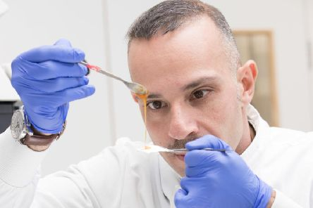 Newcastle University undated handout photo of Dr Piergiorgio Gentile at the Bio Pharmacy labs. Scientists have developed high-tech honey sandwiches to use in the fight against superbug infections
