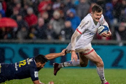 Ulster's Jacob Stockdale made a crucial interception in the opening European Champions Cup game against Bath.