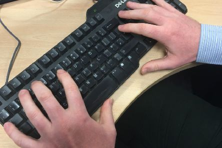 Typing furiously on my keyboard