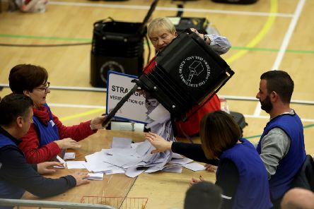 Ballot boxes being counted at the Aurora Leisure Centre, Bangor for the Strangford constituency. 'Photo Laura Davison/Pacemaker Press