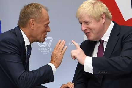 Prime Minister Boris Johnson's letter in August to European Council President Donald Tusk, left, reiterated that he would never divide up the UK. This fooled unionists into thinking that the new prime minister would stand by them but within weeks he had betrayed them