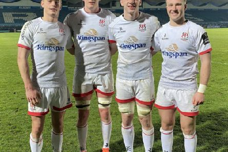 Debutants Ethan McIlroy, Jack Regan, Azur Allison and Stewart Moore after the PRO14 Round 8 League clash between Leinster Rugby and Ulster Rugby at the RDS, Dublin . Photo by John Dickson / DICKSONDIGITAL