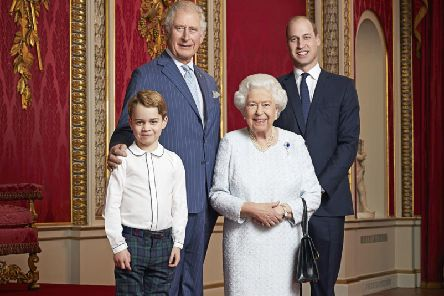This new portrait of Queen Elizabeth II, the Prince of Wales, the Duke of Cambridge and Prince George has been released to mark the start of a new decade. This is only the second time such a portrait has been issued. The first was released in April 2016 to celebrate Her Majesty's 90th birthday. The portrait was then used on special commemorative stamps released by the Royal Mail. This new portrait was taken by the same photographer, Ranald Mackechnie, in the Throne Room at Buckingham Palace on Wednesday December 18, 2019