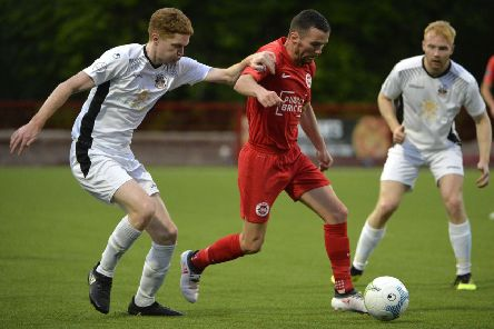 Larne's Martin Donnelly on the attack. Pic by INPHO.
