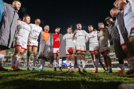 Ulster captain Iain Henderson addresses the players following the victory over Bath. Pic by John Dickson