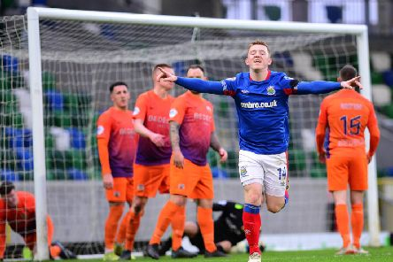 Shayne Lavery celebrates finding the net in Linfield's defeat of Glenavon
