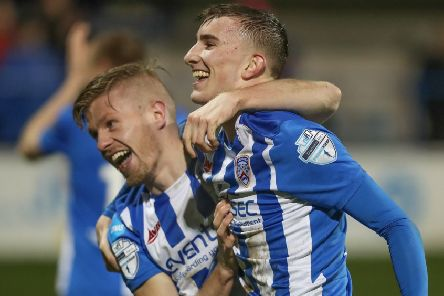 Lyndon Kane celebrates with Alexander Gawne following the game's only goal as Coleraine defeated Cliftonville. Pic by Pacemaker.