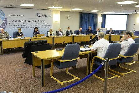 Outgoing temporary DCC Stephen Martin (right) addressing a meeting of the NI Policing Board along with Chief Constable Simon Byrne
