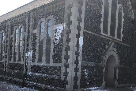The Sacred Heart Church in Ballyclare following the paint bomb incident.