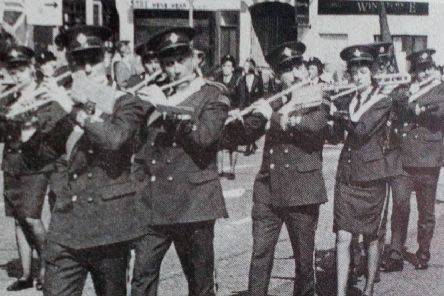 Members of Ballyclare Victoria Flute Band who led the East Antrim  District GB parade in Ballyclare. 1991