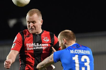 Jordan Owens grabbed the only goal of the game as Crusaders defeated Coleraine in January. Pic by INPHO.