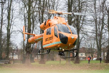 Magpas Air Ambulance landed in Victoria Park yesterday.