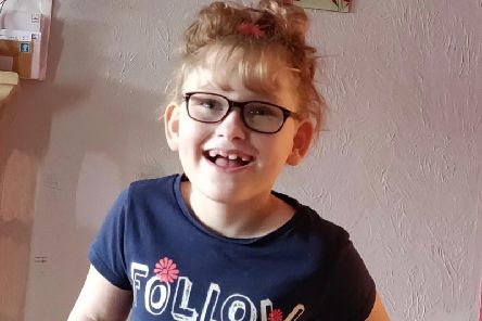 Kayla, 8, is fundraising for an operation which will help her walk again.