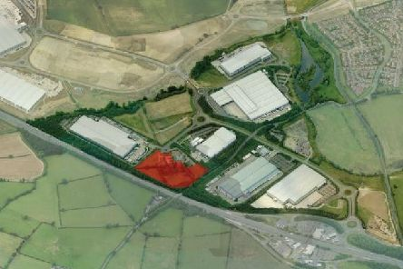 The planning application site for the Tithe Barns warehouse is shown in red