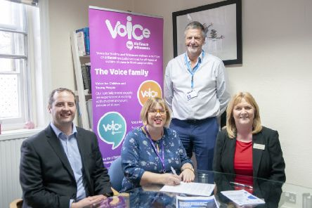 From left, KGH Director of Human Resources and Organisational Development, Mark Smith, Chief Executive of Voice, Fiona Campbell, Chairman of NGH and KGH, Alan Burns, and Director of Workforce and Transformation at NGH, Janine Brennan