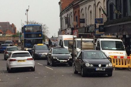 A set of temporary traffic lights has been causing congestion in Northampton town centre.
