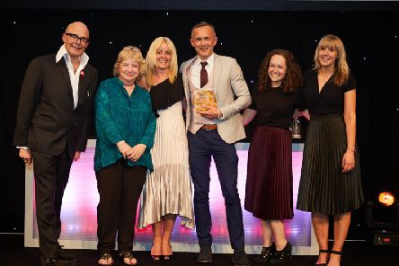 Left to right: comedian Harry Hill, Dame Alison Peacock, deputy headteacher Charlotte French, headteacher John Wayland, teacher Holly Steed and teacher Lucy Jenkinson.