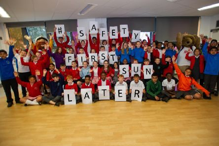 Abington Vale Primary School pupils promote the Summer Safety campaign. Photo: Northamptonshire Police