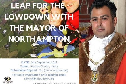 The mayor of Northampton is looking for people to skydive with him for charity.