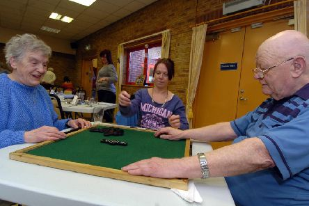 A photo taken at 20111 in the autumn centre showing l-r Barbara Lee, Karleen Campbell (volunteer) and Jock Harper