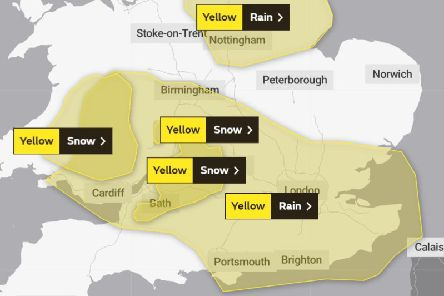A weather warning is in place for Northampton today