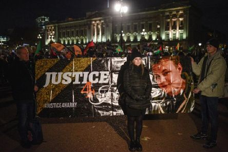 Harry Dunn's mother Charlotte Charles with the Justice4Harry banner outside Buckingham Palace. Photo: Getty Images