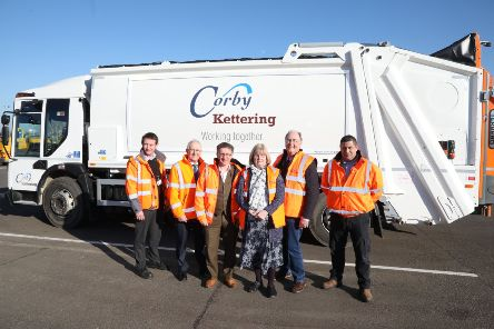 Andrew Sampson (street scene manager), Cllr Ian Jelley, Iain Smith (head of planning and environmental services, Corby Council), Cllr Jean Addison, Cllr Russell Roberts, Wayne Woods (street cleansing supervisor, Kettering Council) NNL-190215-152126005