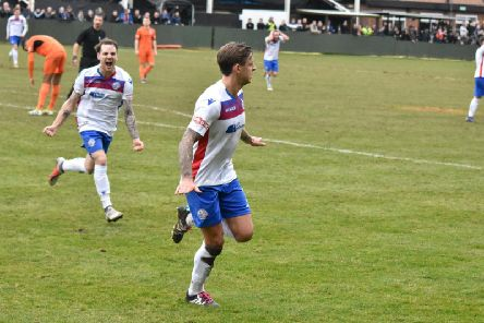 Jack Ashton heads off to celebrate his goal in AFC Rushden & Diamonds' 1-1 draw with Leiston at Hayden Road. Picture courtesy of HawkinsImages