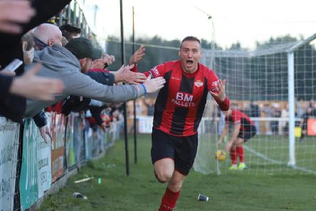 Brett Solkhon's face tells the story after he grabbed Kettering Town's stoppage-time winner against Rushall Olympic at Latimer Park. Pictures by Peter Short
