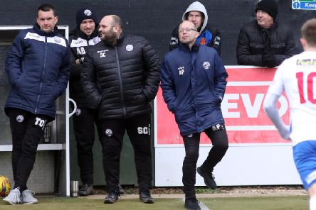 Andy Peaks could afford a smile on the sidelines as AFC Rushden & Diamonds sealed a 2-1 victory over Needham Market at Hayden Road. Pictures by Alison Bagley