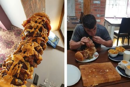 Drew Wilcox believes this is the biggest burger in the UK.