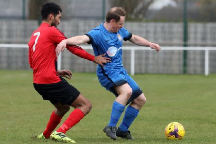 Action from Desborough Town's dramatic 4-3 win at Whitworth last weekend. Picture by Alison Bagley