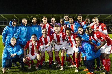 Brackley Town celebrate their Hillier Senior Cup success over AFC Rushden & Diamonds. Picture by Kirsty Edmonds