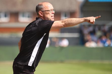 Andy Peaks sends out some instructions during AFC Rushden & Diamonds' 1-0 defeat to Kettering Town at Hayden Road. Pictures by Peter Short