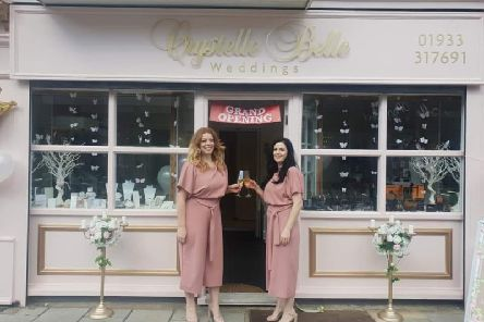 Sisters Crystal and Chantelle Hewitt during the grand opening of the Crystelle Belle shop in High Street, Rushden.