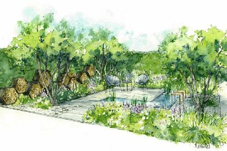An artist's impression of how the Cransley Hospice bee-friendly garden will look at Hampton Court Palace.