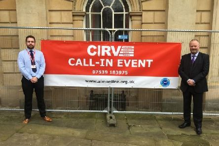 Inspector Daryl Lyon and Doctor William Graham at a CIRV event NNL-190718-135126005