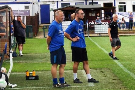 Wellingborough Town manager Jake Stone (right) is hoping his team can continue their FA Cup run this weekend