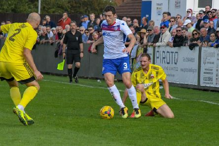 Sam Brown in action during his 300th appearance for AFC Rushden & Diamonds last weekend. Picture courtesy of HawkinsImages