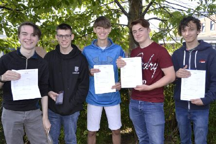 The boys celebrate their results.