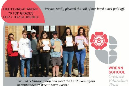 Wrenn pupils celebrate with their results.